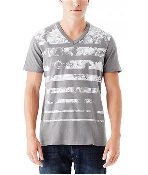 Guess pánské tričko Perri Stripes šedé