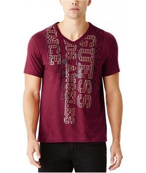 Guess pánské tričko Ashlar logo red/brown
