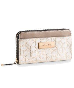 Calvin Klein dámská peněženka Candice Lurex Zip béžová