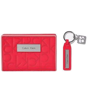 Calvin Klein dámská peněženka dárkový set s klíčenkou Sadie Logo pink