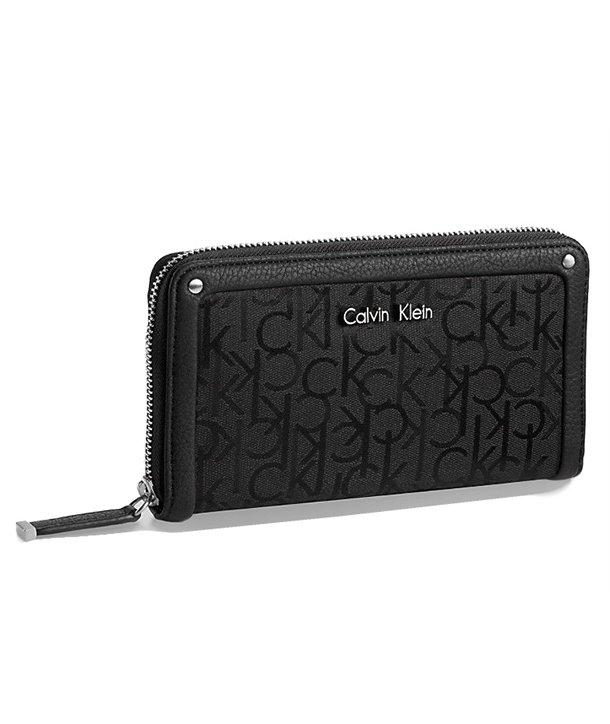 Calvin Klein dámská peněženka Logo Jacquard Zip Continental černá/blk