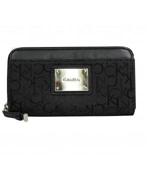 Calvin Klein dámská peněženka Logo Jacquard Zip Continental černá