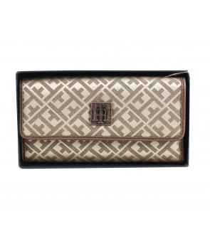 Tommy Hilfiger dámská peněženka fold jacquard beige