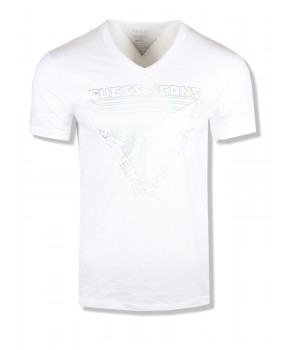 Guess pánské tričko Ziggy Logo bílé