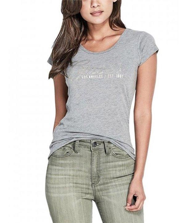 Guess dámské tričko Sazey Studded šedé