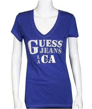 GUESS dámské tričko ANGELES modré. ZDARMA poštovné