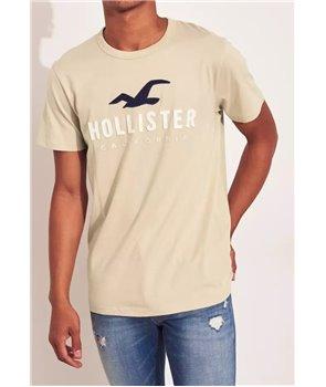 Hollister pánské tričko iconic logo beige 400