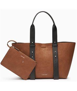 Calvin Klein velká kabelka Jacquard Jane hnědá