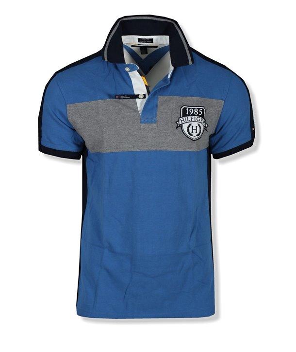 Tommy Hilfiger pánské polo tričko pruh modré Custom Fit 707-480