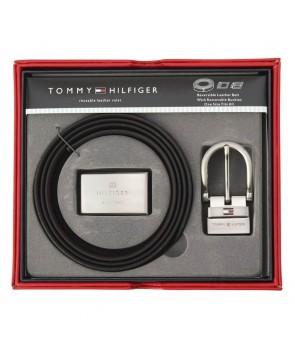 Tommy Hilfiger kožený pásek černý dárkový set SteelW
